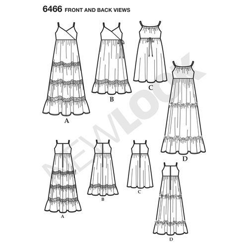 6466 New Look Pattern Girls Dresses with Trim Bodice and